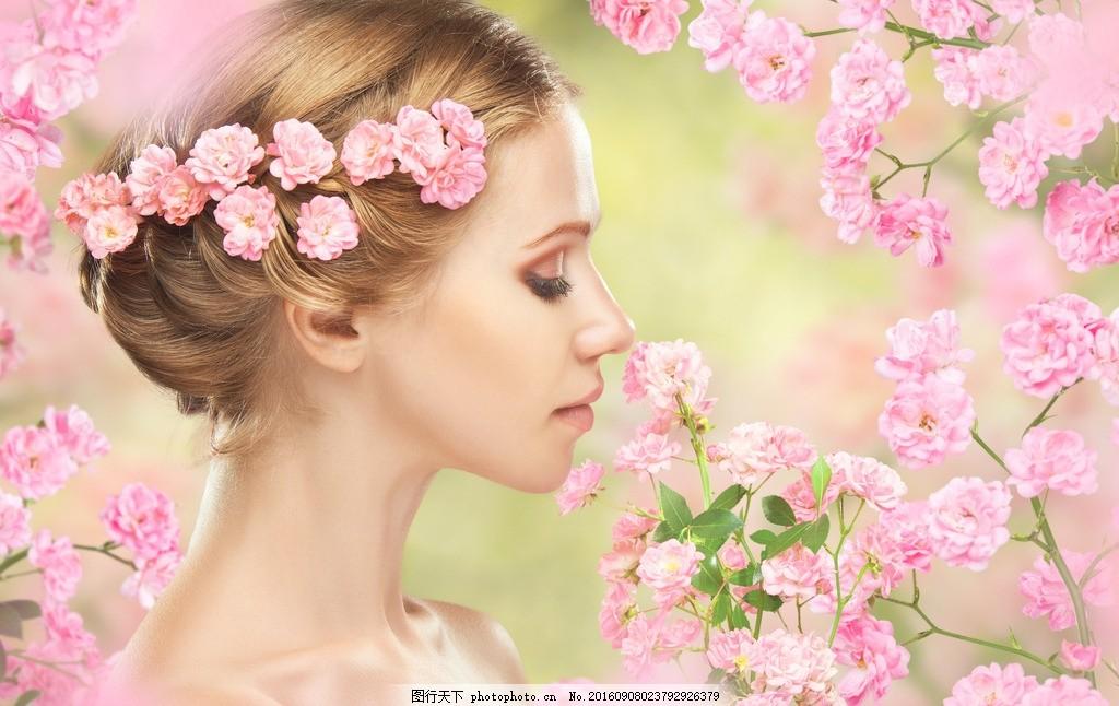 美女 时尚 模特 化妆 盘发 新年 婚纱照 婚纱摄影 樱花 桃花 鲜花