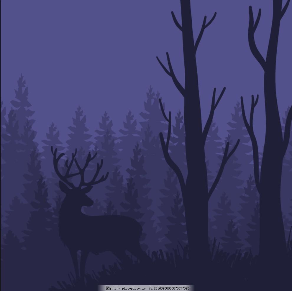 鹿剪影 麋鹿 圣诞 春天气息 梅花鹿 小鸟 森林故事 动物招贴 保护动物海报 四不像 春天元素 圣诞节 童话世界 卡通设计 森林剪影 黑夜 黑暗森林 森林素材 安静 优雅 自然 动物 森林 设计 广告设计 海报设计 AI