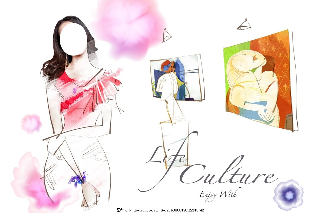 时尚背景 韩式水彩 水墨泼墨 手绘背景 卡通人物 影楼卡通人物 韩式水