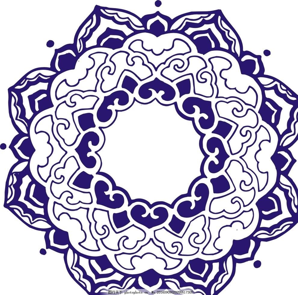传统圆花 圆花 青花 镂空花纹 镂空图案 雕花 窗花 通花 木雕 移门