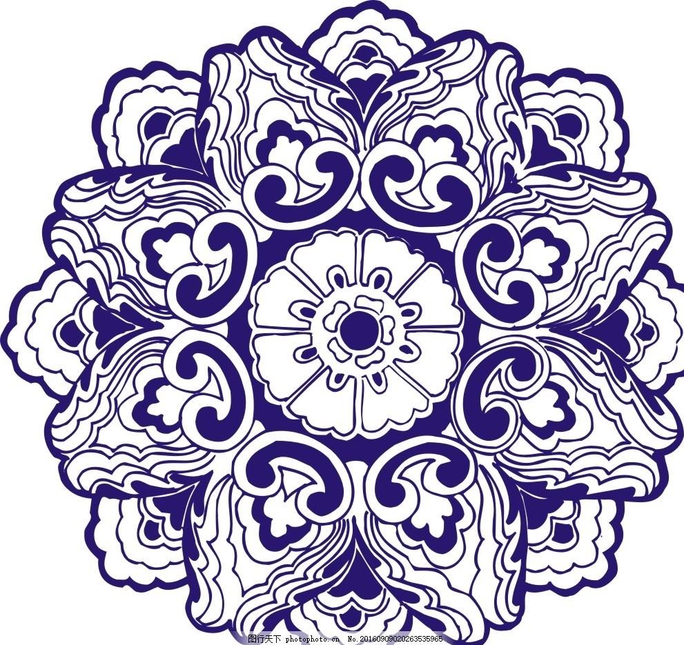 圆花 青花 镂空花纹 镂空图案 雕花 窗花 通花 木雕 移门 古典雕花