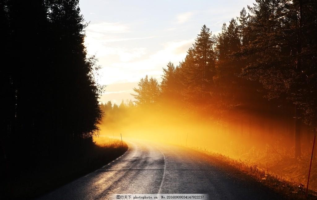 路 雾 日出 清晨 阳光 道路 摄影 自然景观 自然风景 300dpi jpg
