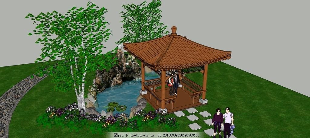凉亭 水池 庭院        绿化防腐木 园林设计 设计 环境设计 景观设计
