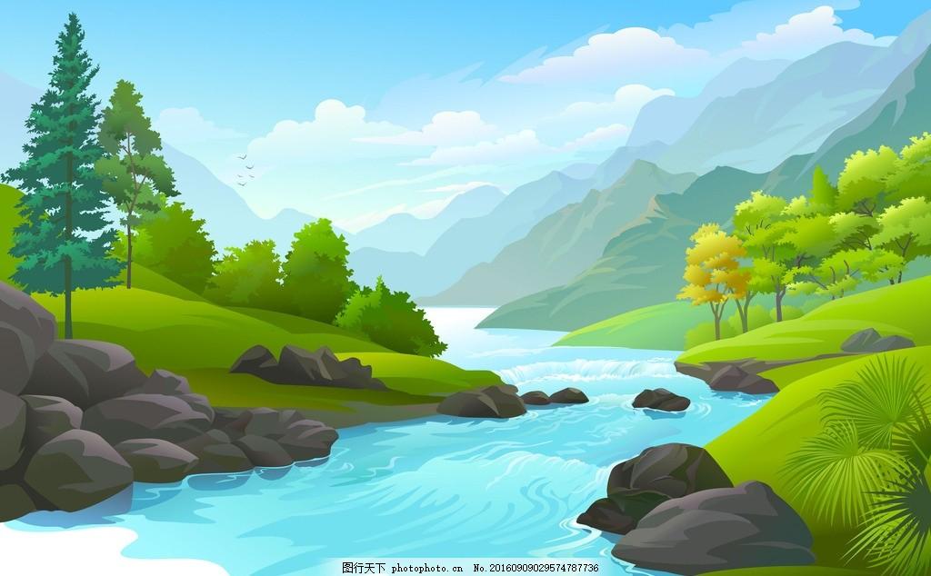 卡通風景 卡通山川河流 卡通 風景 山川 河流 松樹 草地 鮮花 樹 花草
