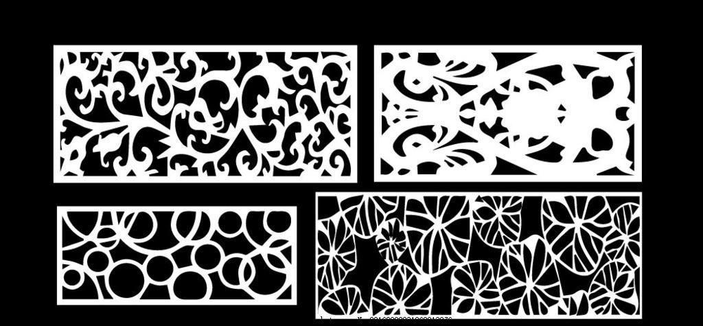 矢量窗花雕花设计 镂空花纹 镂空图案 窗格 通花 木雕 移门 门窗花纹