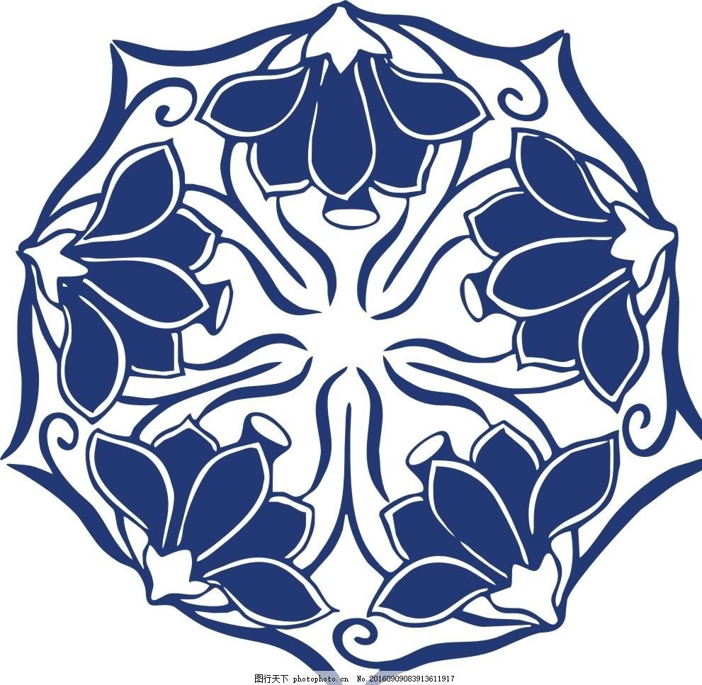传统圆花 青花 镂空花纹 镂空图案 雕花 窗花 通花 木雕 移门