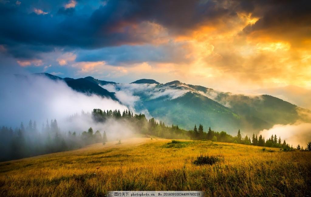 夕阳山景 景色 自然风景 风景 青山绿水 自然 大自然 摄影 自然景观