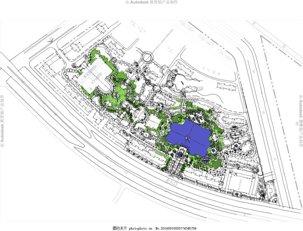 公园平面图 景观手绘方案 概念方案图 小区平面图 园林规划