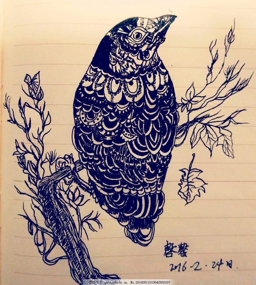 黑白手绘鸟