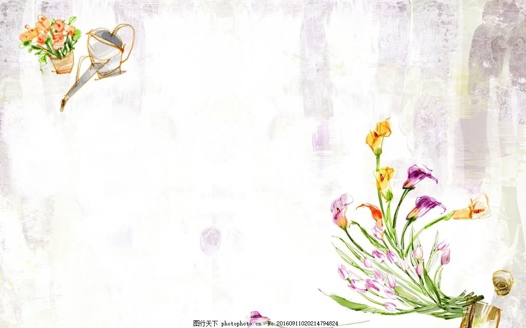 手绘花朵梦幻背景底纹 设计素材 海报背景 浪漫唯美 花纹背景 卡通