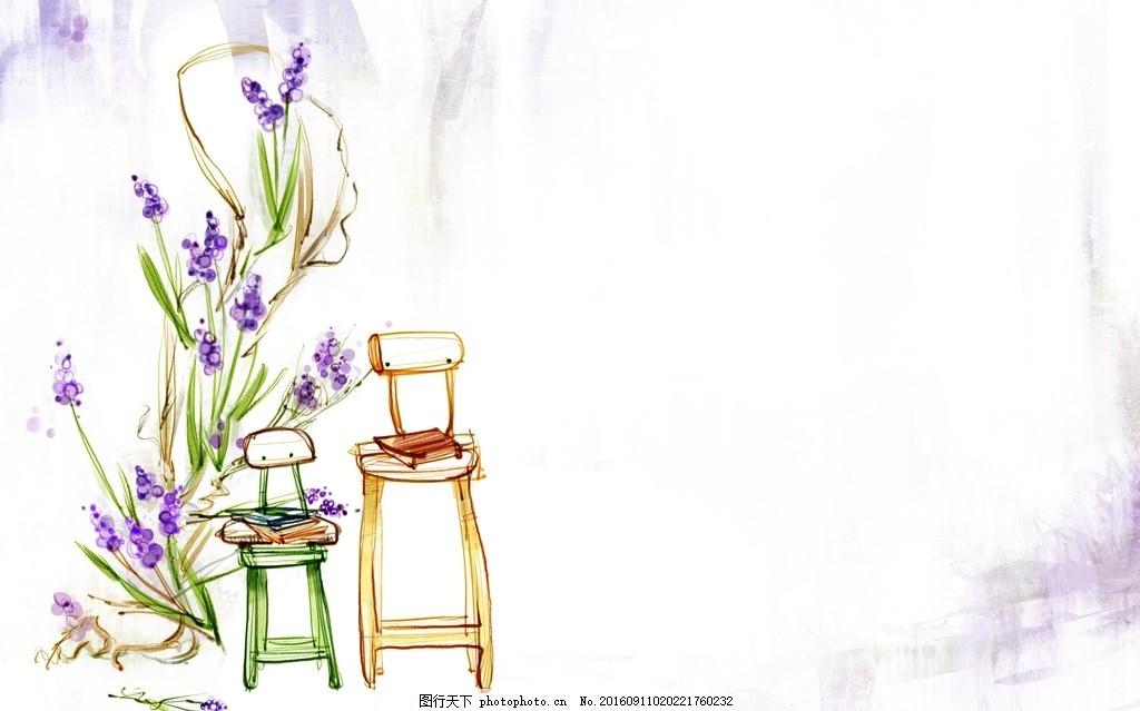 韩式水彩 小清新背景 卡通小清新 韩式水彩花纹背景 设计 底纹边框 背