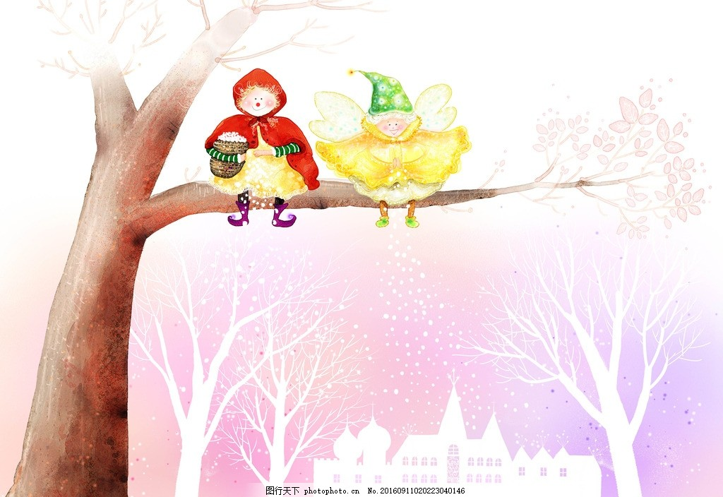 卡通手绘大树人物背景底纹 设计素材 海报背景 浪漫唯美 花纹背景