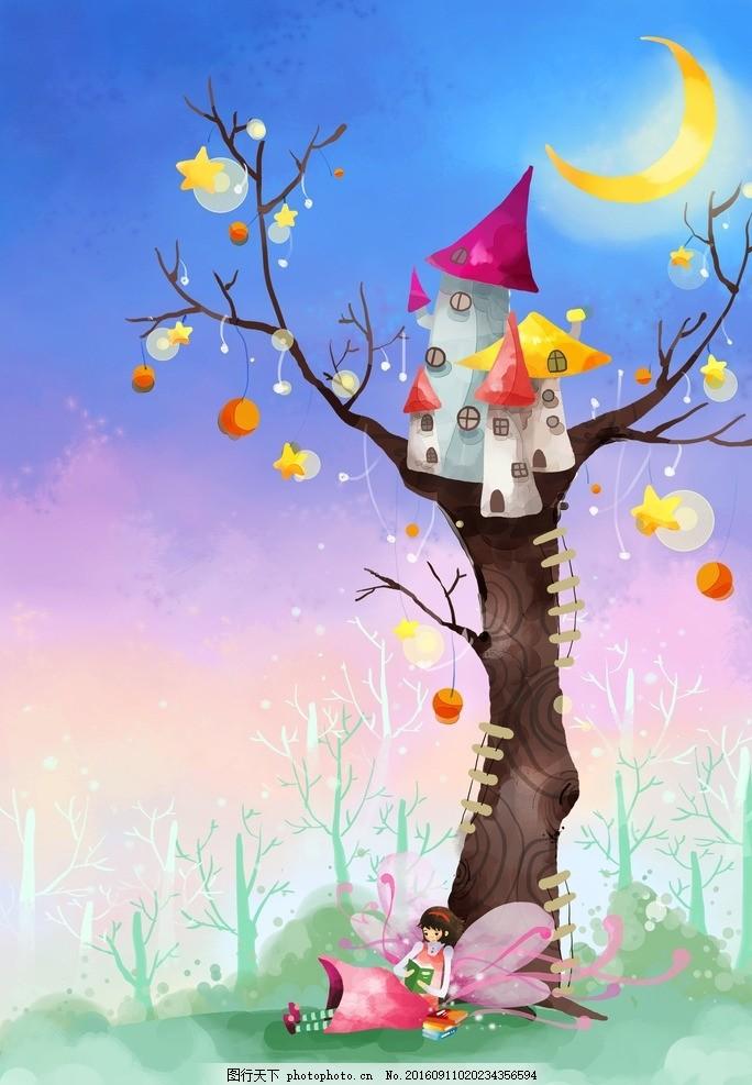 卡通唯美月下大树背景底纹 设计素材 海报背景 浪漫唯美 花纹背景