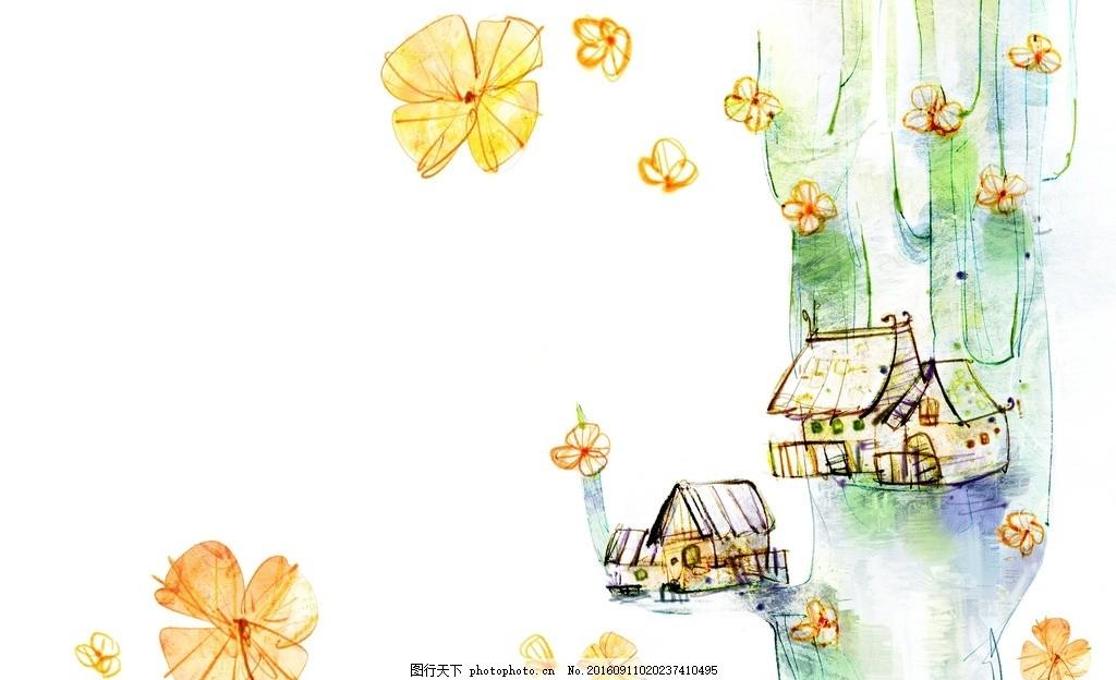 卡通唯美花朵背景底纹图片