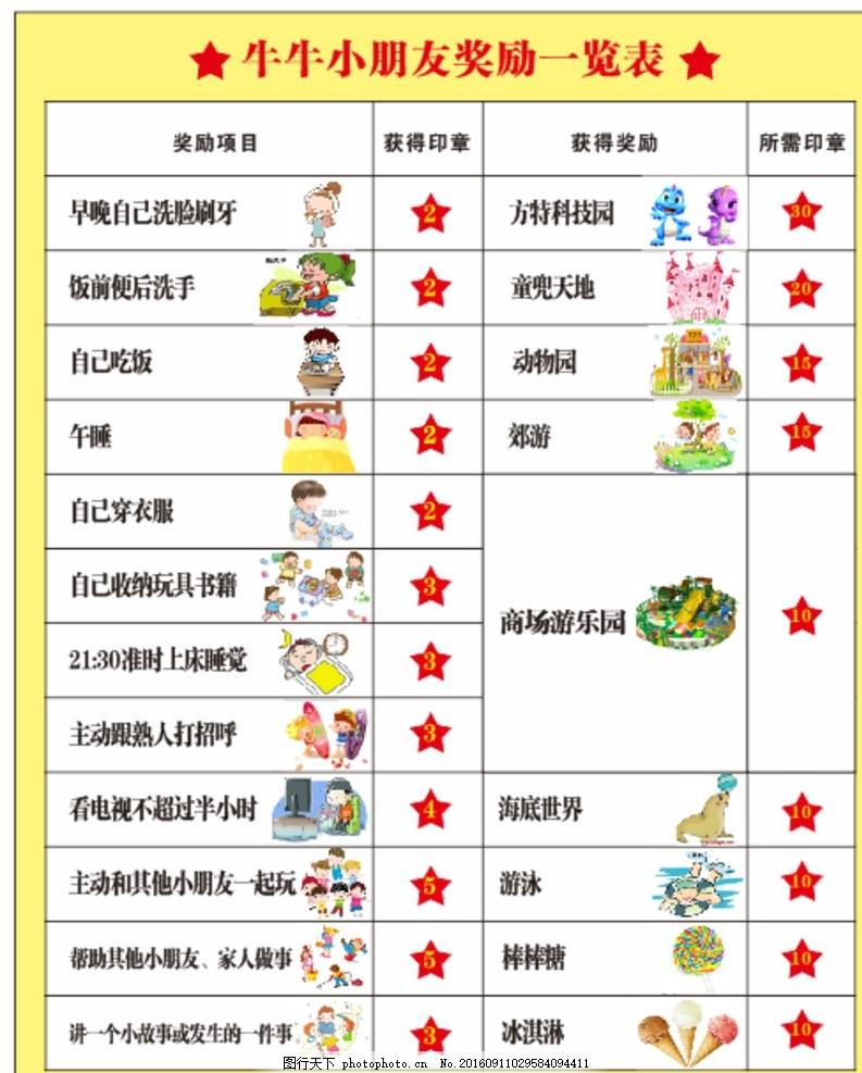 幼儿园 奖励表 表格 小朋友 奖励 设计 广告设计 广告设计 cdr