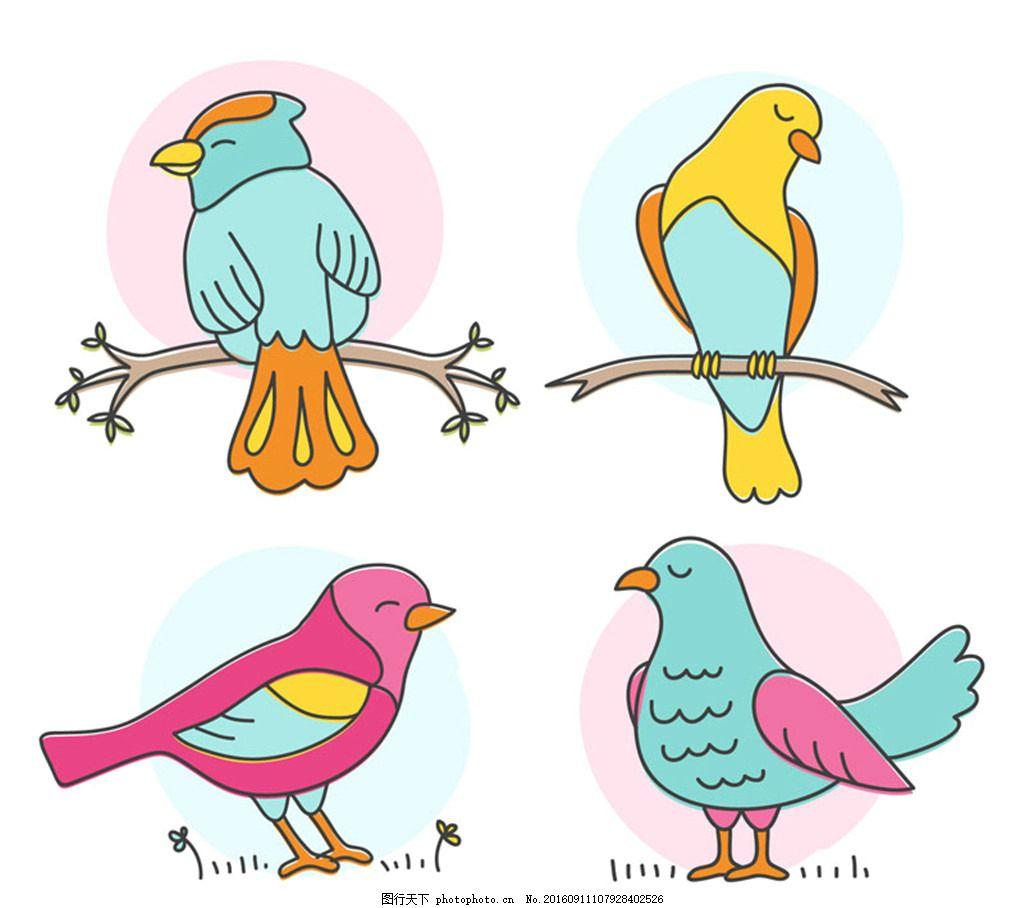 彩色鸟类设计矢量素材 树枝 动物 鸟 矢量图 创意设计 设计 广告设计