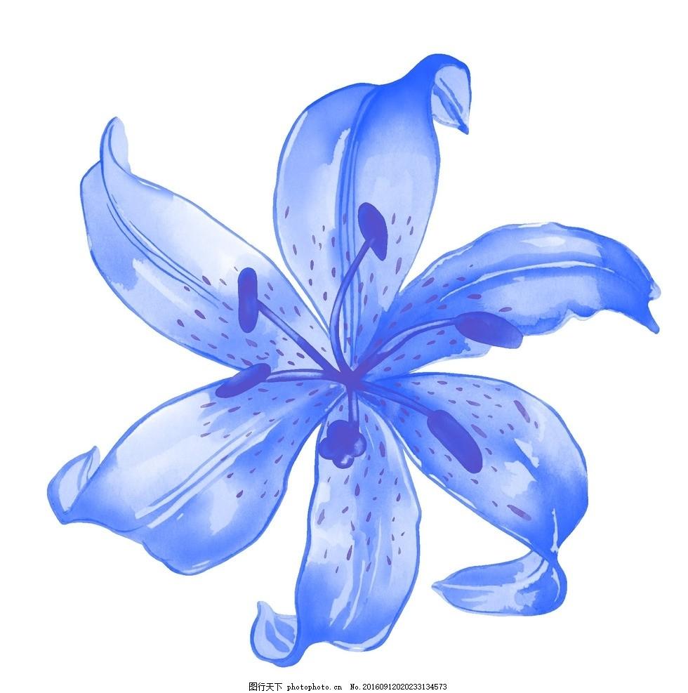 蓝色唯美花朵背景底纹 设计素材 海报背景 浪漫唯美 花纹背景 卡通
