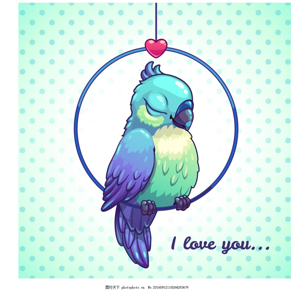 卡通鹦鹉 卡通小鸟 卡通动物 卡通形象 可爱动物 拟人化 矢量动物