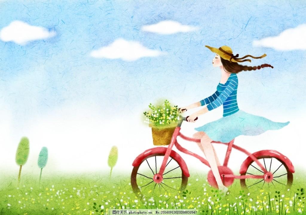 卡通浪漫美女骑自行车梦幻背景