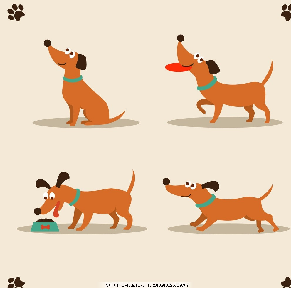 矢量卡通小狗 宠物 宠物狗 高清 分层 可爱 素材源文件 设计 广告设计