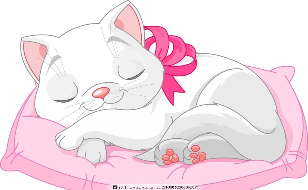 卡通猫咪 宠物 手绘 可爱 白猫