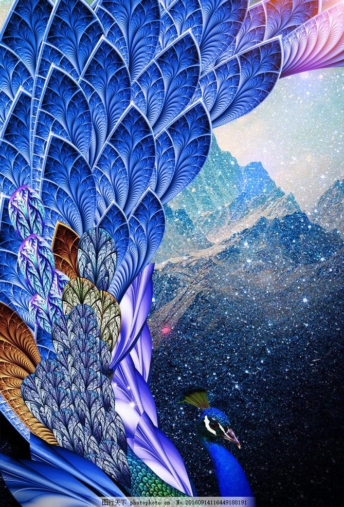 彩色凤凰海报 镜头图标 孔雀 孔雀图片 星星 夜景 创意孔雀 图片设计