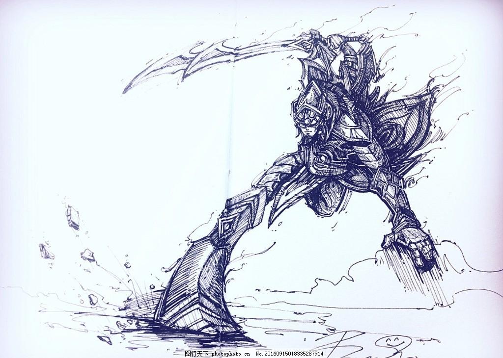 转载 自作者 煎熊 剑圣 手绘 黑白 英雄联盟 动漫动画