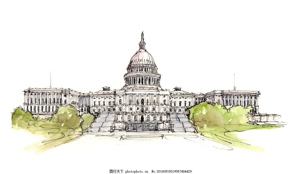 手绘 手绘风景画 手绘景观 手绘建筑画 速写 速写风景 速写手稿 设计
