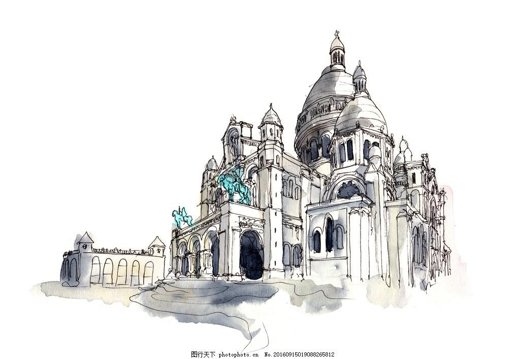 手绘景观 手绘建筑画 速写 速写风景 速写手稿 设计 文化艺术 绘画