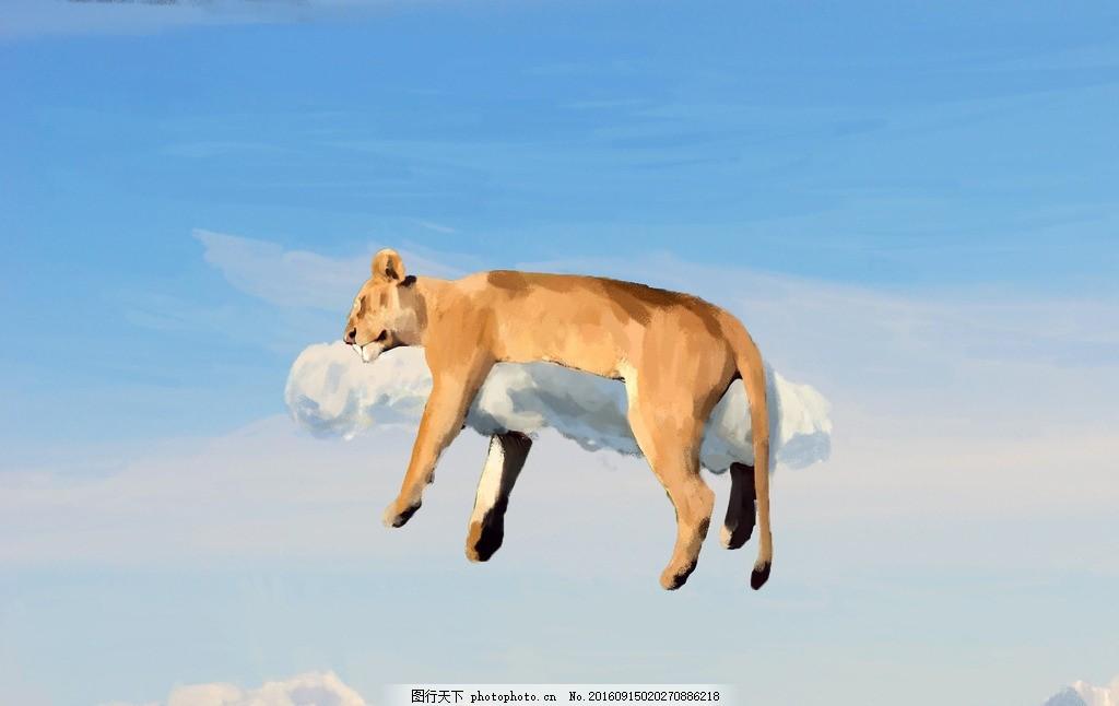 狮子 母狮 睡觉 梦境 飘浮 云端 插图装帧素材 设计 底纹边框 背景