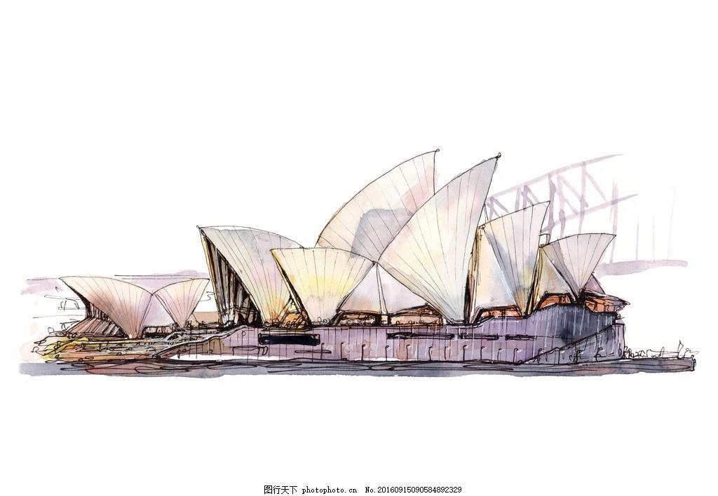 国外建筑手绘素材