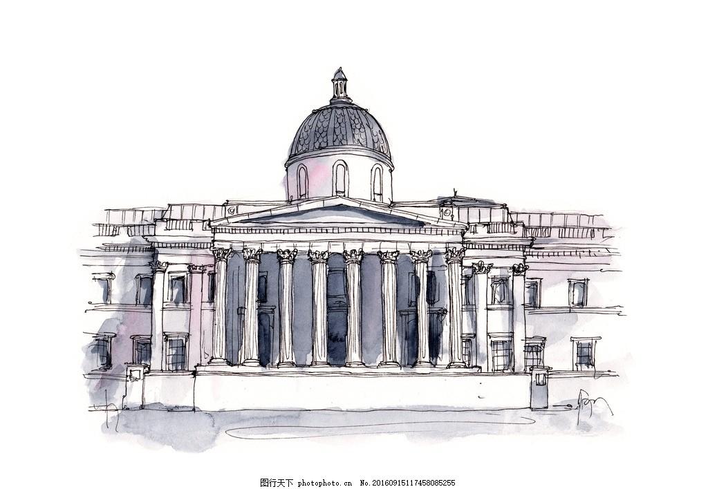 国外建筑手绘素材 环境设计 室内设计 手绘建筑 手绘图 手绘园林