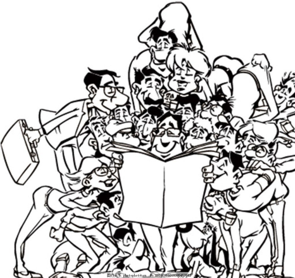黑白漫画,线描插画 白描 卡通 黑白画 黑白世界 中式
