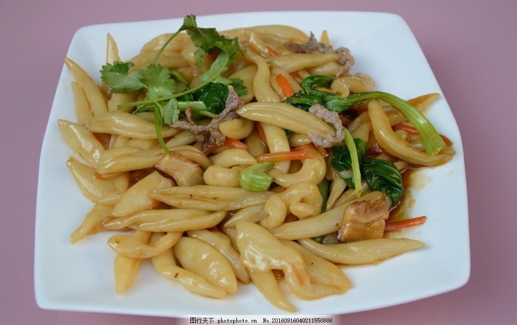 山粉饺炒青菜肉丝 面 手工 制作 摄影 餐饮 美食 食物 特色