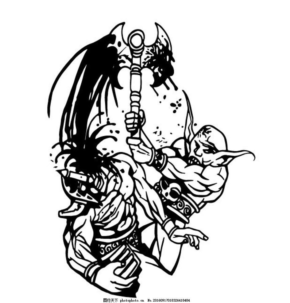 怪物 标志 纹身 衣服印花 印花设计 黑白矢量 设计 动漫动画 动漫人物