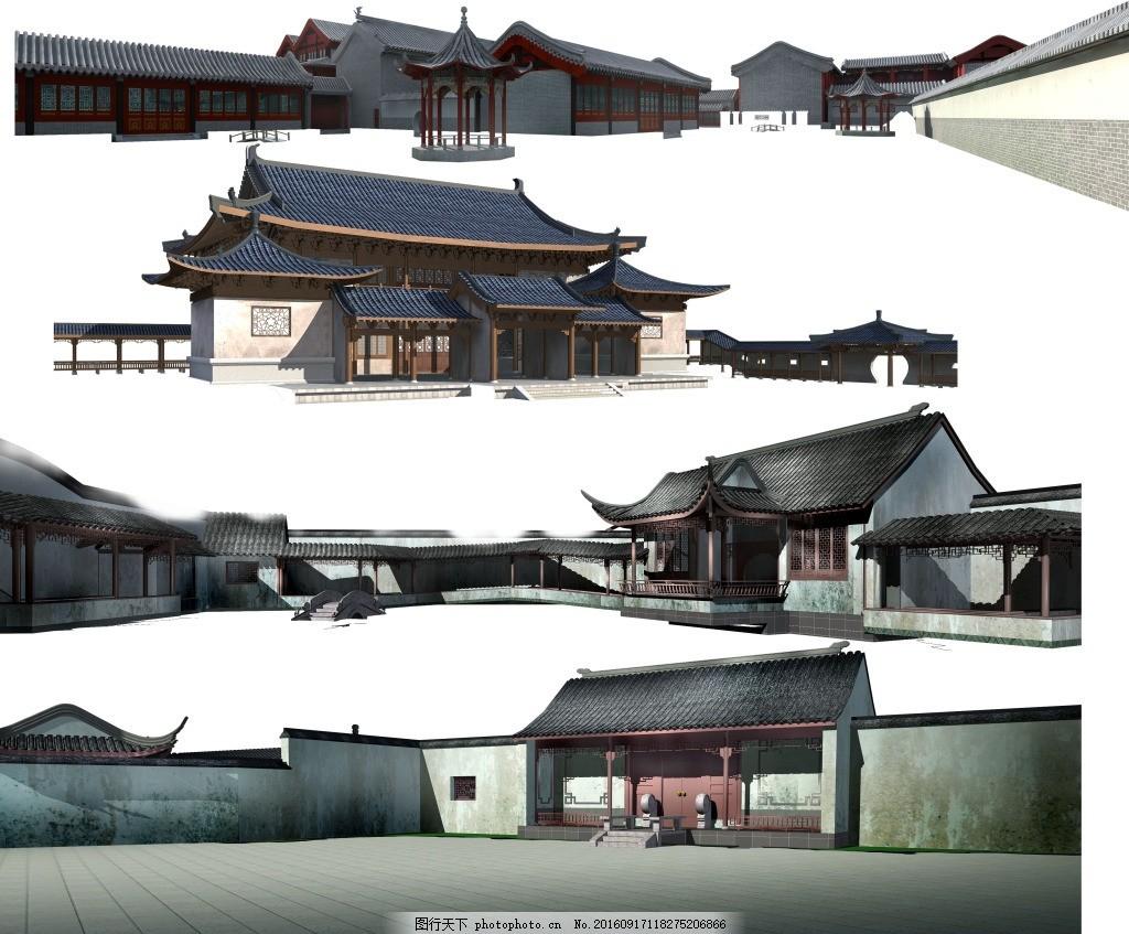 中国风建筑背景 中国风建筑 古建筑物 宫廷 房檐房屋 古代楼阁 传统