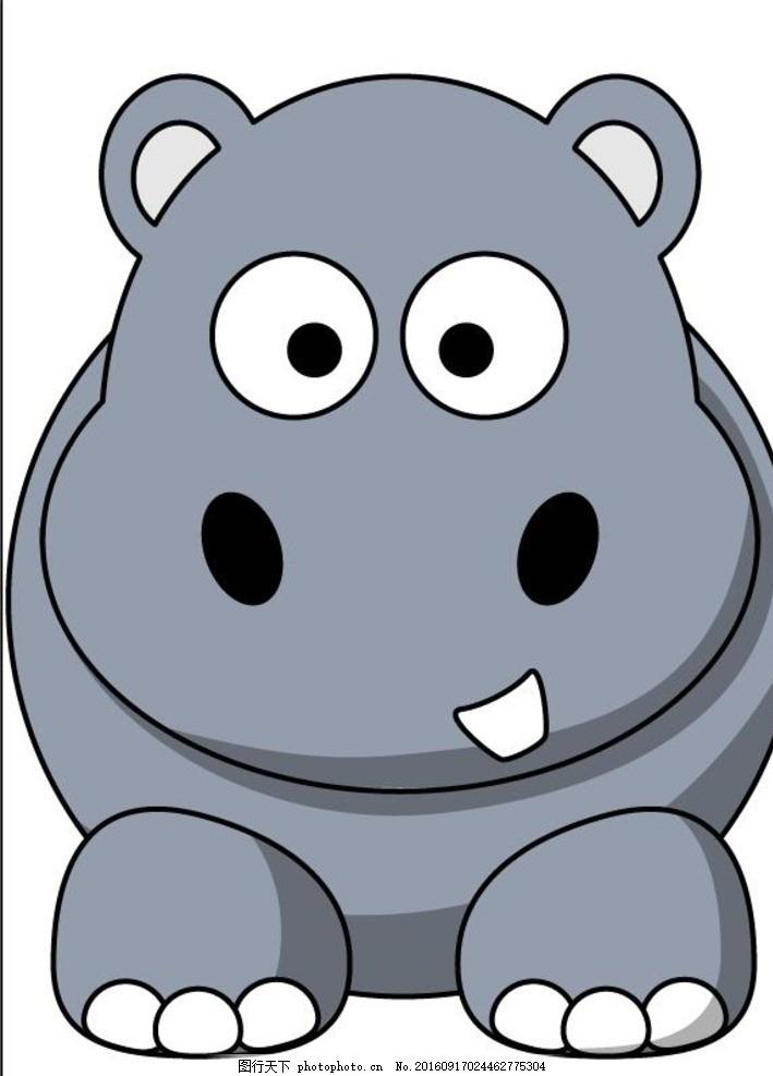 犀牛矢量 动物 卡通动物 矢量素材 幼儿园墙画 卡通贴纸 小动物
