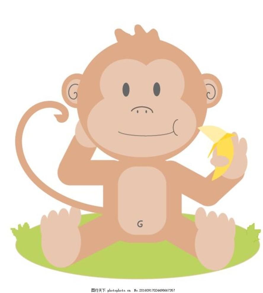 猴子吃香蕉 可爱卡通 卡通动物 卡通猴子 猴子矢量图 猴子素材