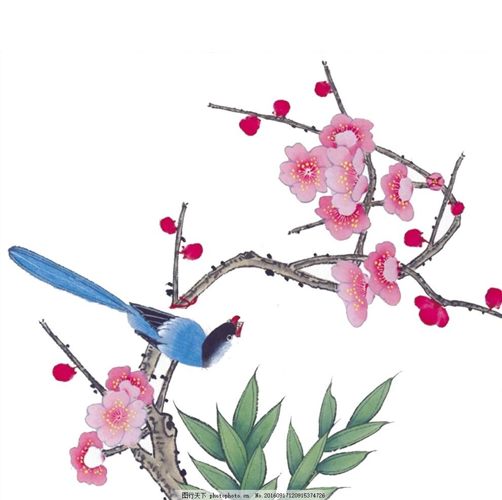 手绘花鸟分层图 国画花鸟 梅花 文化艺术 绘画书法