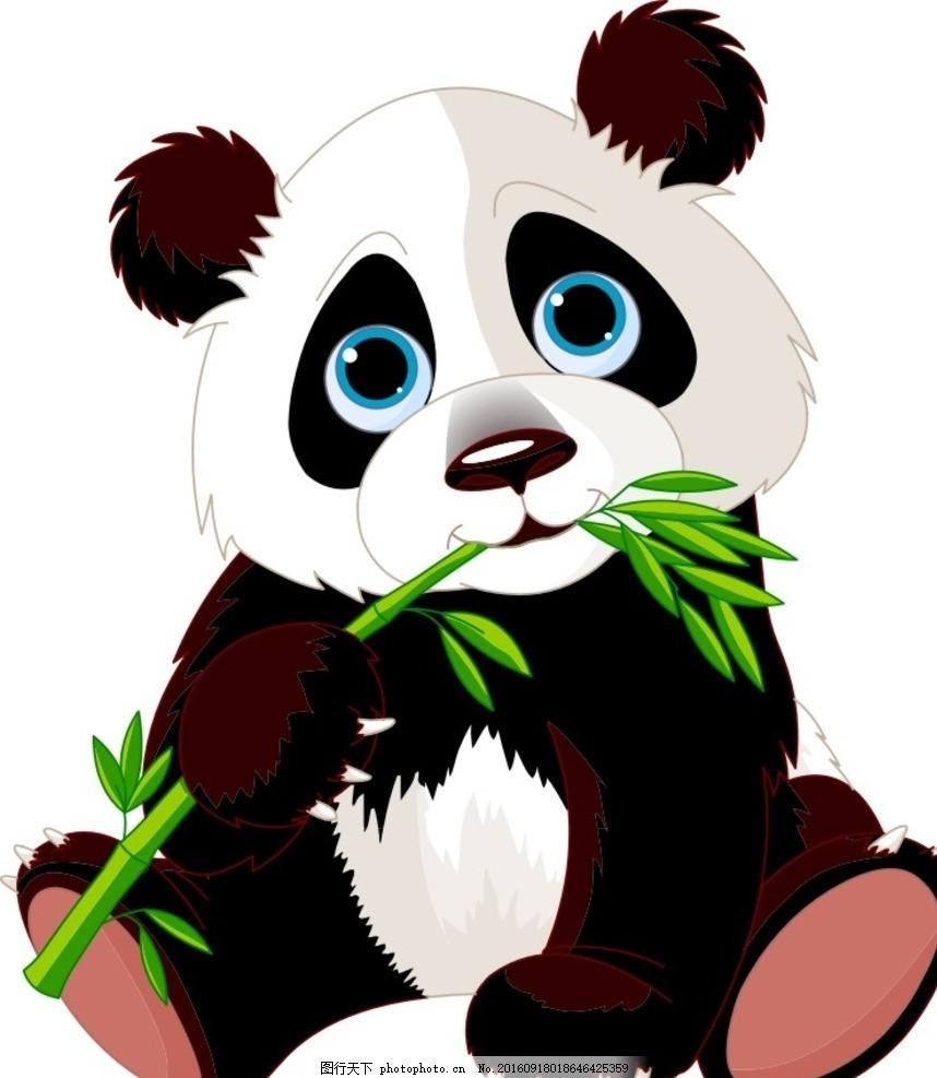 插画熊猫 吃竹子 的 矢量 插画设计 动漫动画