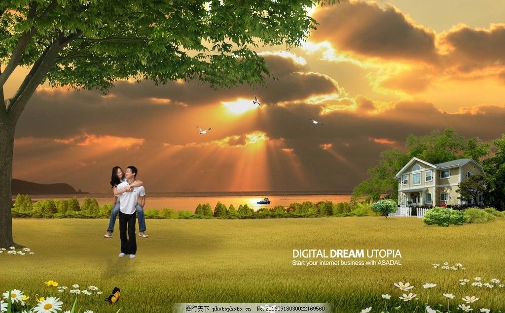城市风景 图片下载 风景 天空 蝴蝶 海边城市 郁金香 别墅 海边别墅