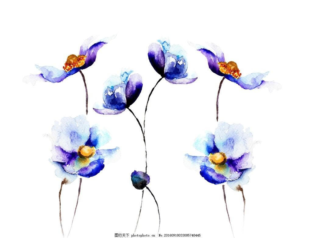 彩绘花卉 水墨花 手绘花卉 彩色花 水粉画 水彩花卉 设计 psd分层素材