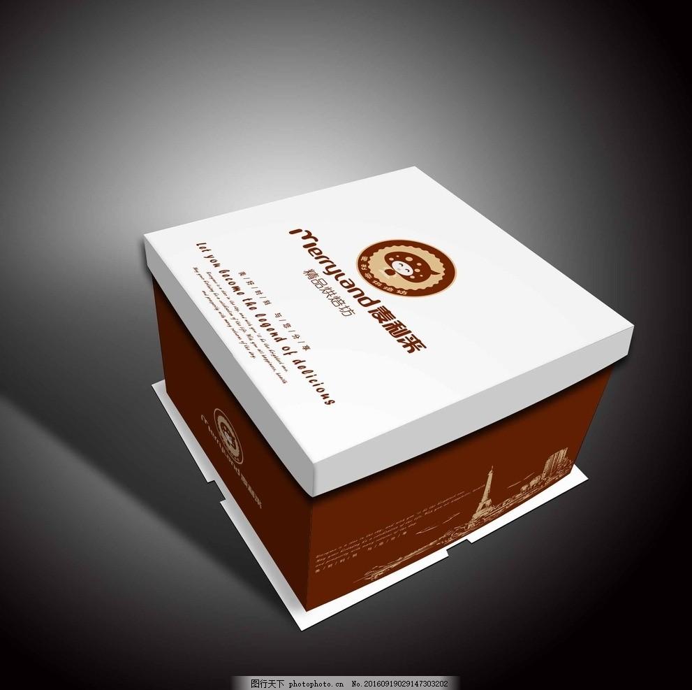 方形蛋糕盒 蛋糕盒 蛋糕盒效果图 天地盖 棕色 烹饪 烘焙 甜品 蛋糕