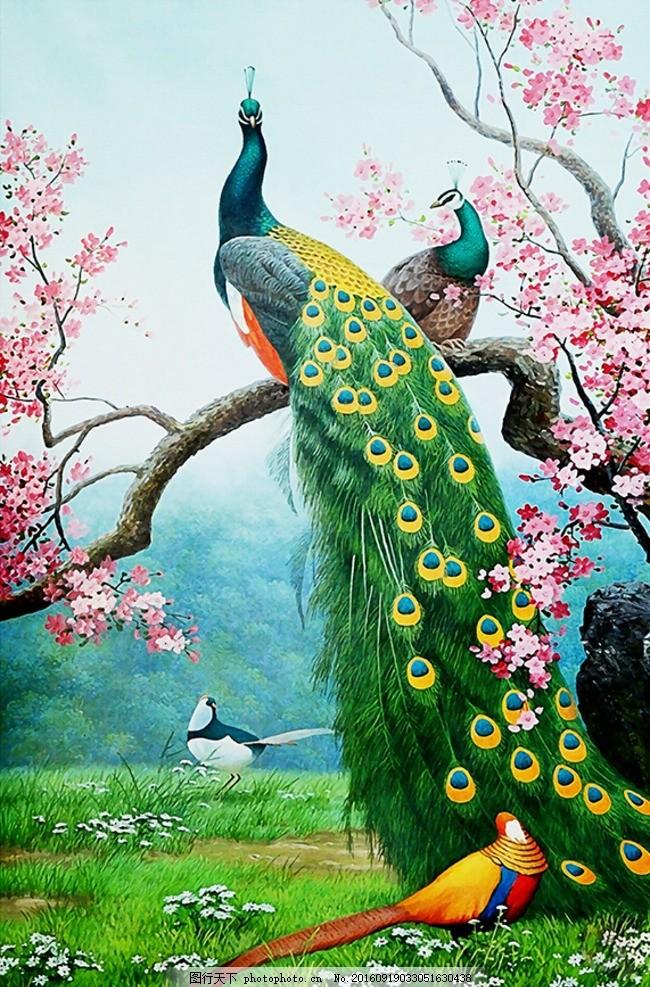 时尚孔雀玄关背景墙 梅花 树枝 油画 风景 壁纸 壁画