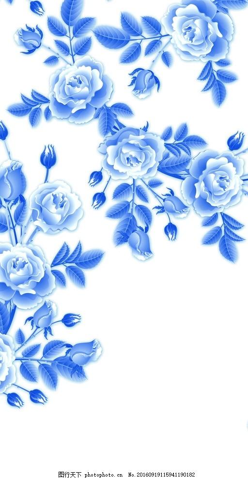 青花瓷 蓝色 花 简单 大气 青花瓷设计 广告设计 设计 底纹边框 背景