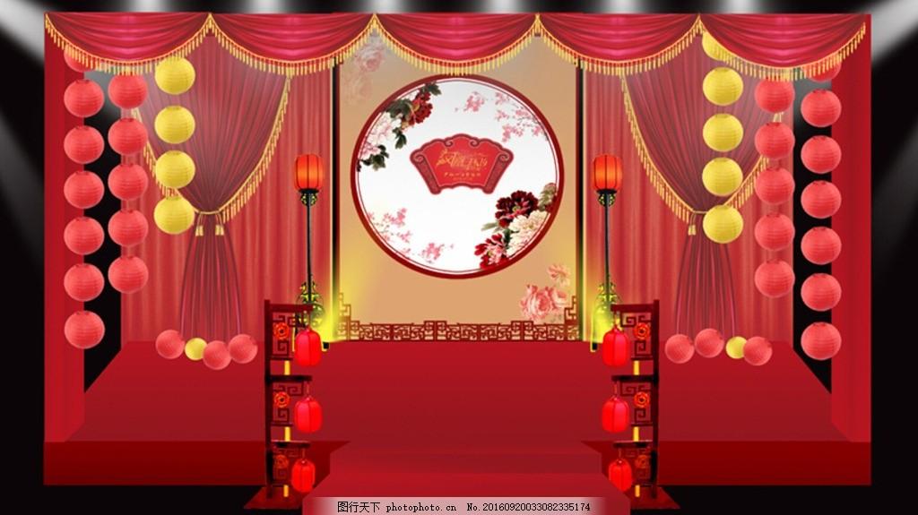 婚礼效果图 舞台背景 婚庆 红色主题 设计 红色中式婚礼 汉唐中式婚礼