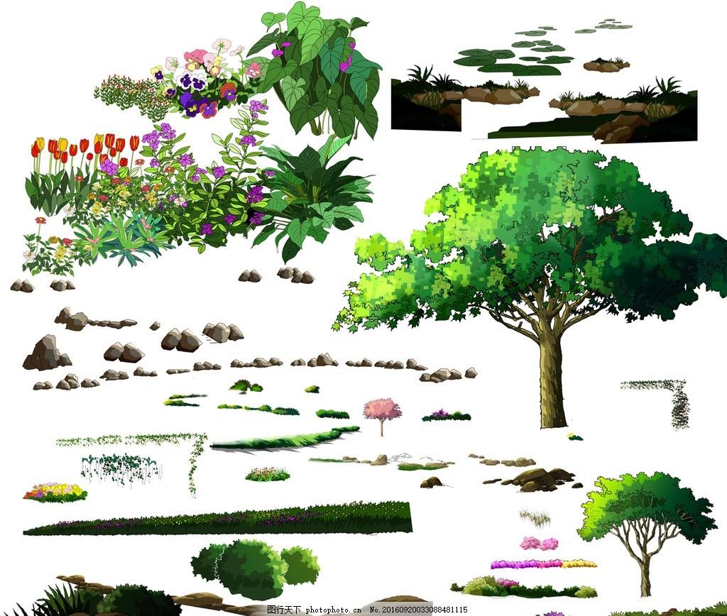 手绘园林景观树木石头花卉效果图