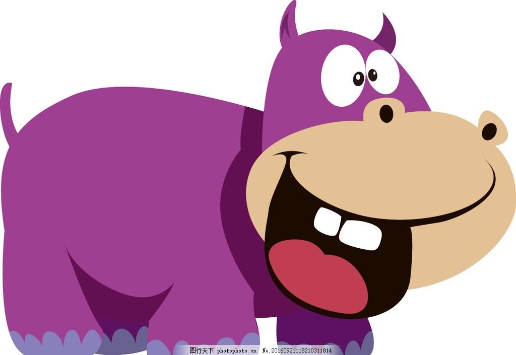 河马 卡通 动物 宝宝 可爱 生物 动物 设计 动漫动画 动漫人物 eps