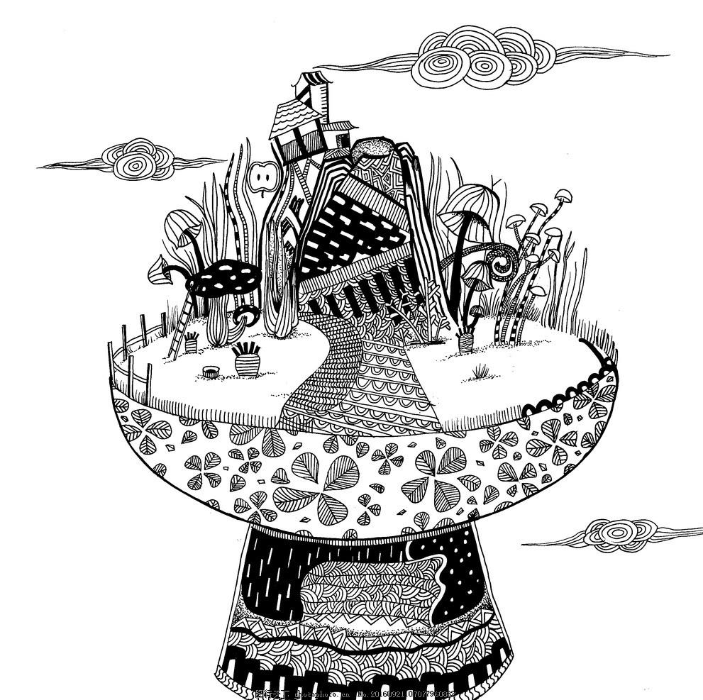 家园 插画 绘本 装饰画 平面设计 黑白 手绘 动漫动画 动漫人物