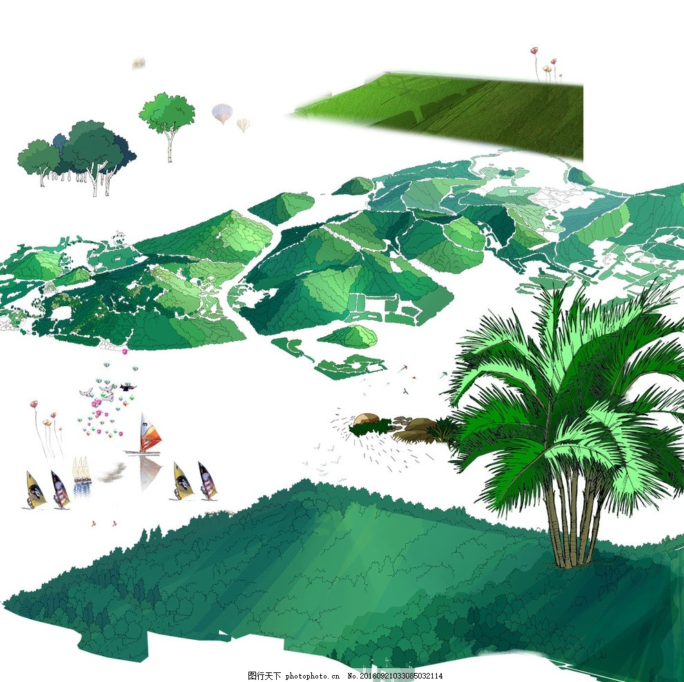 ps景观手绘鸟瞰效果图素材